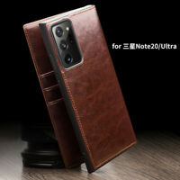 Qialino Genuine Leather Wallet Case Cover f Samsung Galaxy Note20 Ultra S20 S10+