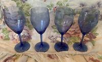"""VintageSet of 4Cobalt Blue WineTasting Glasses -6 1/2"""" Tall - Clean & Undamaged"""