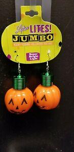 Lotsa Lights ~ Jumbo Light Up Pumpkin Flashing Earrings Halloween
