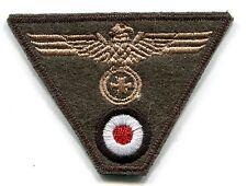 WWII German Heer Cap Trap Eagle Iron Cross Tan on Field Grey Wool Patch