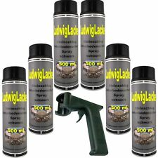 Spraydosen Steinschlagschutz Unterbodenschutz 6 x 500ml Schwarz &Haltegriff