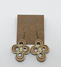 LUCKY BRAND Jewelry Vintage Wood Gold Tone Circle Swirl Drop Earrings Rare