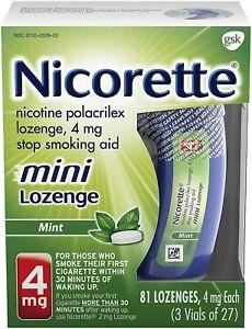 Nicorette 4mg Mini Nicotine, 81 Lozenges (Quit Smoking) Mint, Stop Smoking Aid