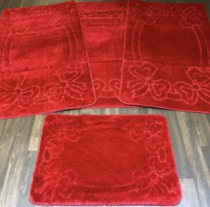 ROMANY WASHABLES BOWS GYPSY SET OF 4PC RED MATS NON SLIP TOURER SIZE 66x120CM X