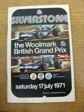 17/07/1971 Motor Racing Programme: British Grand Prix - Official Programme [At S
