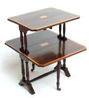 Antique Victorian Inlaid Mahogany 2-Tier Sutherland Table [5373]