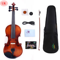 4/4 5 String Electric Violin Acoustic Solid Maple Spruce hand Made With Case #US