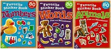 NEW LOT My Favorite Words, Animals & Numbers Fun Preschool Sticker Books Pre-K