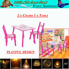 AU Baby Style Childrens Wooden 1 Table and 2 Chairs Set - Kids Toddlers Childs