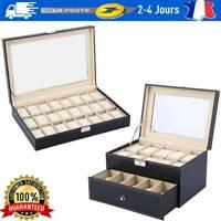 PU Présentoir à Montre Bijoux Etui de 20/24 Montres Boîte de Rangement noir