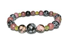Overcoming Mistakes Bracelet Peridot Snowflake Obsidian Rhodonite Natural Stone
