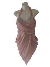 Lipsy Vestido Nude Cortina de noche de fiesta Vestido Talla 12 diseñador inusual llamativo