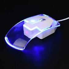 Blue/transparent light-up LED computer mouse
