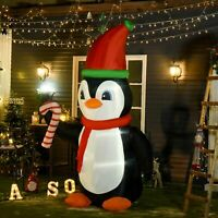 HOMCOM 8.2' Lighted Inflatable Penguin Holding Candy Cane Outdoor Yard Decor
