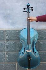 Yinfente Blue Electric Acoustic Cello 4/4 Maple+Spruce Free Bag+Bow Cable #EC1