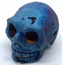 Crâne de Pierre Précieuse Bleu Vert Druzy Geode Quartz 135g 42x36,5x51 mm Pièce
