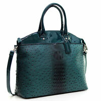 Dasein Womens Handbags Ostrich Leather Tote Bag Shoulder Bag Satchel Purse