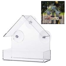 Glass Window Bird Feeder Clear Perspex Viewing Suction Cup Hanging Peanut Seed