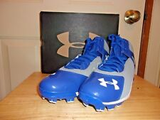 New Under Armour UA Spine Heater Mid TPU Mens Baseball Cleats Gray Blue  plastic