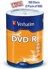 100 VERBATIM DVD DVD-R Logo Branded Disc 16X/4.7GB/120Min - Blank media 96525