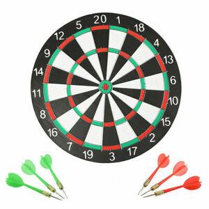 Full Size 17 Inch Dart Board  Double Sided Dartboard Target Board 6 Darts Game
