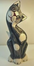 Vintage Cat Wood Figure Standing Head Cocked Blue White Distressed Hand Painted