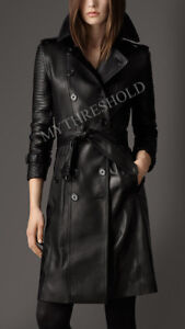 New Ladies Women Black Genuine Real Leather Trench Coat