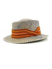 ANDEAN FEDORA BLUE NATURAL MULTICOLORED STRIPED GROSGRAIN BAND