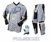 PULSE MOTOCROSS MX ENDURO BMX MOUNTAIN BIKE KIT - ABSTRACT KIT BLUE & WHITE