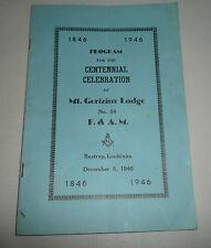 VINTAGE BOOKLET FREE MASONRY MASONS MT.GERIZIM LODGE BASTROP LOUISIANA 1946