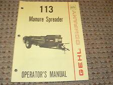 Gehl 113 Manure Spreader Operator's Manual