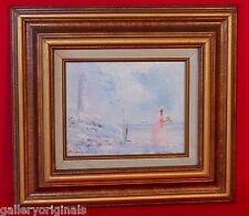 Impasto Textured Oil Painting Signed D. GORDON Victorian Woman Lighthouse Beach