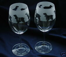 Cocker Spaniel Dog Wine Glasses by Glass in the Forest..Boxed