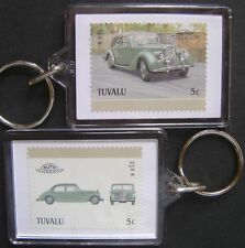 1950 RILEY RM Car Stamp Keyring (Auto 100 Automobile)