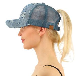 C.C Ponytail Messy Buns Ponycaps Baseball Visor Trucker Cap Dad Hat Denim Blue