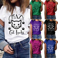 Fashion Women Girls Plus Size Printed Top Shirt Short Sleeve T Shirt Blouse Tops