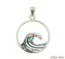 925 Sterling Silver Hawaiian Ocean Wave 20mm Circle Abalone Paua Shell Pendant