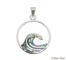 925 Sterling Silver Hawaiian Ocean Wave 20mm Circle Abalone Paua Shell Pendant