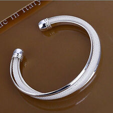 Designer Ladies 925 Sterling Silver plated Twist Rope Cuff Bangle Bracelet XMAS
