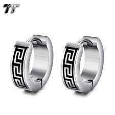 TT 4mm Width Silver/Black Stainless Steel Greek Key Hoop Earrings (EH131) NEW