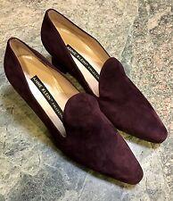 New Anne Klein Collection Burgundy Wine Italian Suede Pumps Shoes Heels 8 N