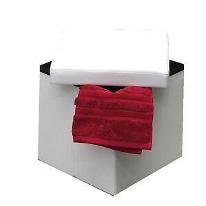 Evideco 2 in 1 Folding Ottoman Storage box faux leather , seat, Pouf, Benches