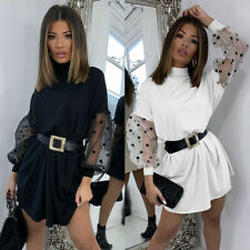 UK Womens Polka Dot Baggy Party Mesh Puff Sleeve Basic Ladies Casual Mini Dress