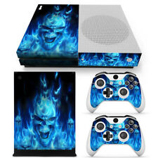 Blue Skull Fire  SKIN  Sticker Cover FOR XBOX ONE S CONSOLE +CONTROLLERS set