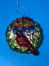 Vintage Mercury Glass Christmas Ornament Wreath Red Cardinal