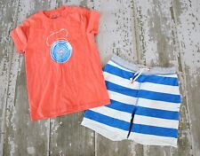 Mini Boden Orange Knit Short Sleeve Yo-Yo Graphic T shirt Stripe Shorts Set 7 8