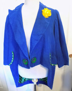 Vintage Blue Corduroy Clown Jacket Polka Dot Lined Yellow Flower Tails