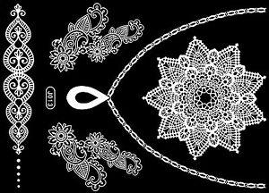 Tattoo Einmal Flash Klebe Weiß Braut Hochzeit Fuß Kette Henna Taufe Party J13W