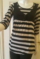 ladies/girls  Black /grey striped tunic jumper dress cardigan by 5 7 9  size xs