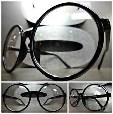 OVERSIZE VINTAGE Style Clear Lens EYE GLASSES Large Round Black Fashion Frame